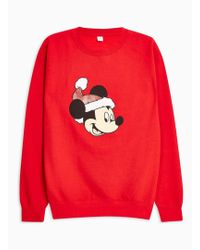 TOPMAN - London Co Red Christmas Sweatshirt - Lyst