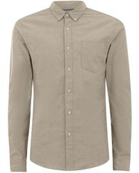 TOPMAN - Green And White Muscle Oxford Long Sleeve Shirt - Lyst