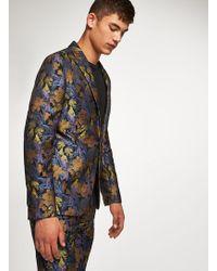 TOPMAN - Floral Toucan Jaquard Skinny Blazer - Lyst