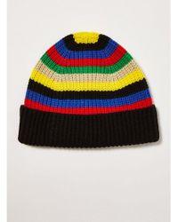 TOPMAN - Multi Stripe Knitted Beanie - Lyst