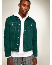 TOPMAN - Contrast Stitch Denim Jacket - Lyst