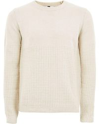 TOPMAN - Tone And White Twist Grid Jumper - Lyst