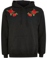 TOPMAN - Black Rose Hoodie - Lyst
