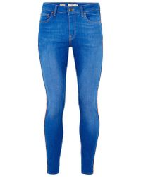 TOPMAN - Blue Wash Spray On With Side Taping Jean - Lyst