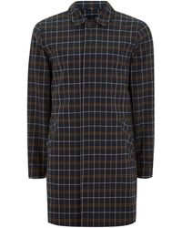 Topman | Navy Check Smart Mac | Lyst