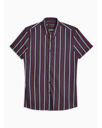 TOPMAN - Navy And Burgundy Stripe Stretch Skinny Shirt - Lyst