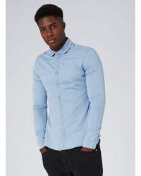 TOPMAN - Bleached Muscle Fit Denim Long Sleeve Shirt - Lyst