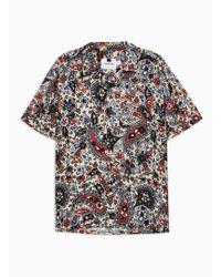 TOPMAN - Tone Floral Design Revere Shirt - Lyst