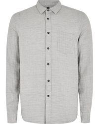 Topman | Grey Textured Shirt | Lyst