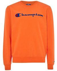 TOPMAN - Champion Orange 'corporate' Sweatshirt - Lyst
