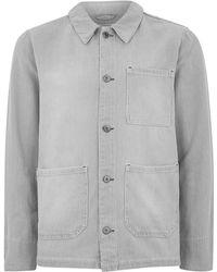 Topman | Grey And White Stripe Denim Chore Jacket | Lyst