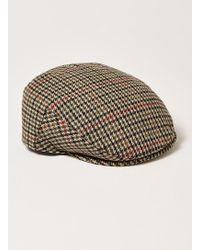 TOPMAN - Brown Check Flat Cap - Lyst