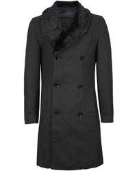 TOPMAN - Black Herringbone Faux Fur Collar Coat* - Lyst