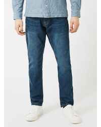TOPMAN - Waven Blue Distressed Pocket Regular Fit Jeans* - Lyst