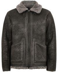 TOPMAN - Grey Overdyed Faux Shearling Jacket - Lyst
