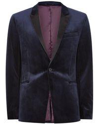 TOPMAN - Navy Velvet Skinny Tuxedo Jacket - Lyst