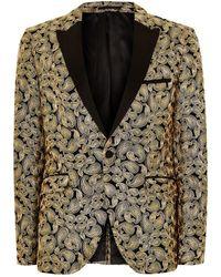 TOPMAN - Gold And Black Ultra Skinny Tuxedo Jacket - Lyst