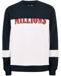 TOPMAN - Navy And White 'millions' Sweatshirt - Lyst