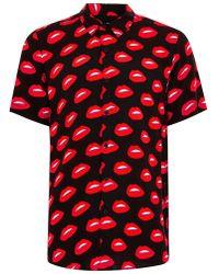 TOPMAN - Lips Motif Short Sleeve Shirt - Lyst