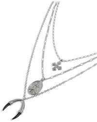 TOPMAN - Silver Multi Row Necklace - Lyst