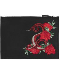 TOPMAN - Black And Red Snake Embroidered Clutch Bag - Lyst