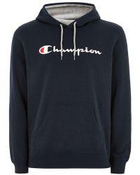 TOPMAN - Champion Navy 'corp' Logo Hoodie - Lyst