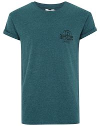 TOPMAN - Teal 'tour' Salt And Pepper T-shirt - Lyst
