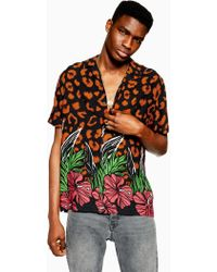 f31fe5d419d7 TOPMAN Skinny Fit Stretch Floral Print Shirt in Green for Men - Lyst