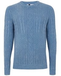 TOPMAN - Blue Acid Wash Cable Knit Jumper - Lyst