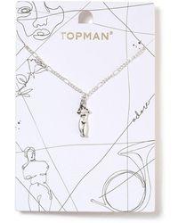 TOPMAN - Ilver Sculpture Necklace - Lyst
