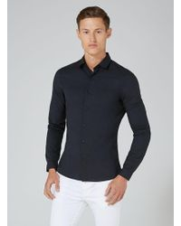 TOPMAN - Black Ultra Muscle Fit Stretch Long Sleeve Shirt - Lyst