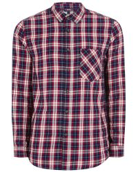 Topman | Navy And Red Cherry Check Shirt | Lyst