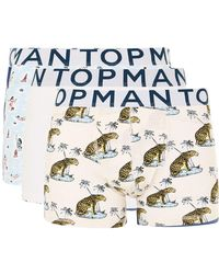 TOPMAN - Blue And White Summer Trunks 3 Pack - Lyst
