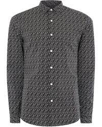 TOPMAN - Black And White Geometric Print Stretch Skinny Fit Long Sleeve Shirt - Lyst