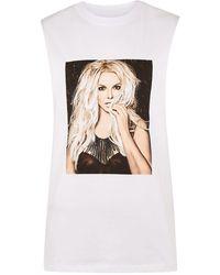 TOPMAN - White Britney Print Tank Top - Lyst