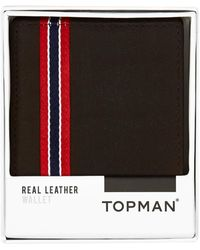 TOPMAN - Chocolate Leather Bifold Wallet - Lyst