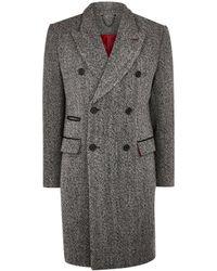 TOPMAN - Grey Wool Blend Herringbone Double Breasted Overcoat - Lyst