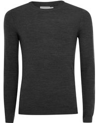 TOPMAN - Charcoal Muscle Fit Merino Sweater - Lyst