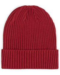 TOPMAN - Bright Red Ribbed Beanie - Lyst