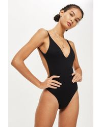 10b3dc93dbed3 Lyst - Topshop High Neck Mesh Swimsuit in Black