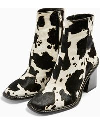 TOPSHOP - Hugh Leather Black And White Cow Print Boots - Lyst