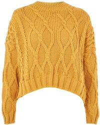 TOPSHOP - Cropped Cable Jumper - Lyst