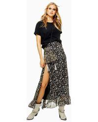 TOPSHOP - Star Print Ruffle Maxi Skirt - Lyst