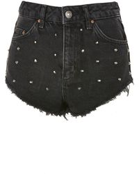 TOPSHOP - Moto Studded Denim Kiri Mini Shorts - Lyst