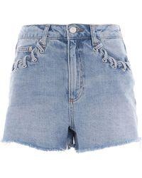 TOPSHOP - Moto Whip Stitch Mom Shorts - Lyst