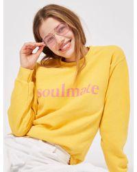 TOPSHOP - Petite 'soulmate' Slogan Sweat Top - Lyst