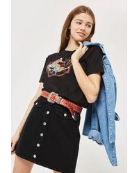 TOPSHOP | Moto Button Denim A-line Skirt | Lyst