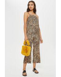 TOPSHOP - Petite Leopard Print Jumpsuit - Lyst