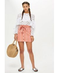 TOPSHOP - Petite Striped Mini Skirt - Lyst