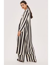 TOPSHOP - Tie Detail Striped Duster Coat - Lyst